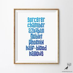 Harry Potter Titles By WordBirdShop