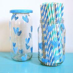Blue Hearts Glass Jar