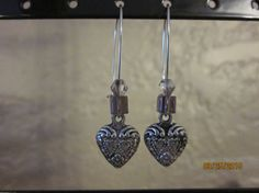 A16 Silver Heart Dangle with Purple Cube & by ParadiseKreations