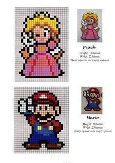 Peach princess - Mario Bros - hama beads - pattern