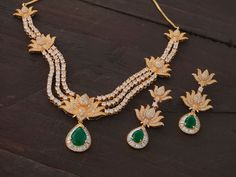 Diamond emerald Indian wedding jewelry.