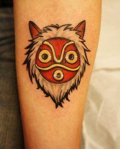 Princess Mononoke Studio Ghibli mask tattoo