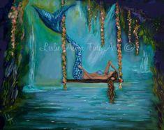 Mermaid Fine Art Print Mermaid Painting Mermaid Decor Mermaids