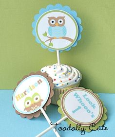 Boys are a Hoot Cupcake Toppers by ToadallyCuteParties on Etsy