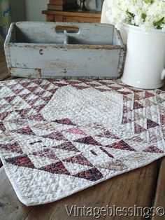 $36 Antique 1880s Ocean Waves Doll Or Table Quilt 19x19 Primitive Country www.Vintageblessings.com
