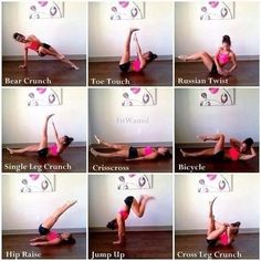 Work your Abs & Core! Do these 9 ab exercises for the prescribed number of reps or hold count: Bear or Side Plank Crunch - reps on each side Toe Touch - 20 reps Russian Twist - 20 alternating reps Single Leg Crunch - 10 reps on each leg Crisscros Fitness Tips, Health Fitness, Fitness Fun, Women's Health, Scissor Kicks, Cheer Workouts, Ab Workouts, Toe Touches, Crunches