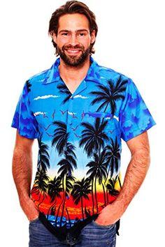 85f671b2 Funky Hawaiian Shirt Men Shortsleeve Frontpocket Hawaiian-Print Beach Party  Flowers Mens Hawaiian Shirts,