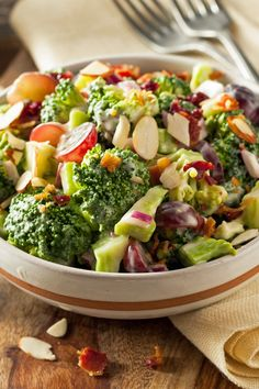 Broccoli Salad with Bacon, Almonds & Grapes