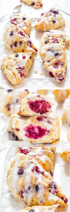 The Best Glazed Mixed Berry Scones - If you've always thought scones were dry, this easy recipe will change your mind forever! #recipe #scone