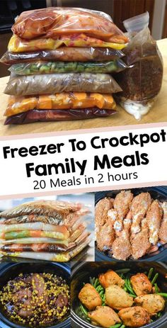 These easy crockpot recipes can be prepared ahead of time and frozen to save time during the busy weeknights. Put all ingredients in a ziplock bag and freeze. Prep a week or even 30 days worth of crockpot freezer meals in just a couple of hours and you'll Slow Cooker Freezer Meals, Easy Freezer Meals, Easy Family Dinners, Slow Cooker Recipes, Cooking Recipes, Chicken Freezer Meals, Freezer Cooking, Freezer Meal Recipes, Pioneer Woman Freezer Meals