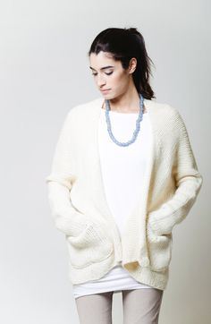 Oversize Knit Sweater Cardigan / Long Bat Sleeve by marcellamoda