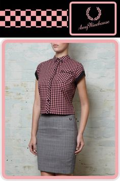 Amy Winehouse Pink & Black Plaid Girls Bowler Shirt by Fred Perry (Sale price!)