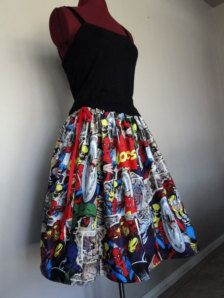 Comic Book Skirts Avengers skirts Marvel Comics Skirts by tintiara Geek Fashion, Womens Fashion, Fashion News, Dress Skirt, Dress Up, Marvel Clothes, Geek Chic, Looks Cool, My Wardrobe