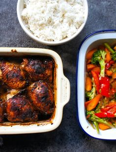 Deliciously crispy & tender chicken thighs with an Asian marinade. Served with fluffy basmati rice and crunchy stir fried vegetables.