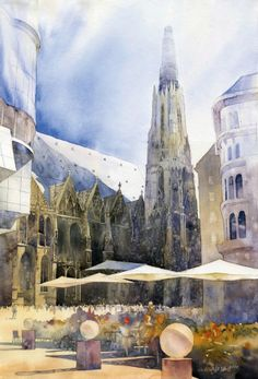 City Watercolor Paintings by Grzegorz Wrobel