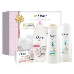 Dove Coconut & Care Holiday Gift Box ( Beauty Bar / Body Wash / Shampoo / Conditioner / Shower Puff), 5 Pieces