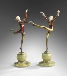 Two Art Deco Austrian bronze and ivory sculptures, the first by Josef Lorenzl, the second by Stefan Dakon.