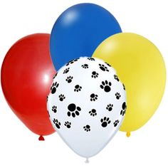 """Paw Print Yellow Red Blue 12"""" round latex balloons. Perfect for Dog, Animal, or Paw Patrol inspired theme party."""