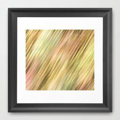 Diagonal Neutral Stripe Abstract Pattern Framed Art Print by Judy Palkimas