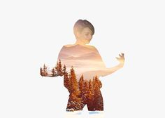 Simple double exposure with a forest at dawn.