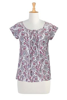 Stylized floral print cotton blouse