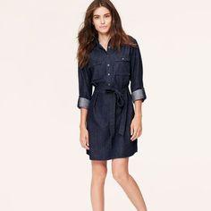 Chambray Half Button Down Tab Sleeve Mini Dress Worn twice. Petite. Super cute! LOFT Dresses