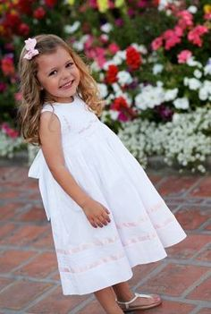 Baby Girls White Smocked Dress for Special Occasions--Carousel Wear - 1 Low Key Wedding Dress, Wedding Dresses For Girls, Girls Dresses, Flower Girl Dresses, White Silk Dress, White Sleeveless Dress, Little Girl Outfits, Kids Outfits, Baby Gown