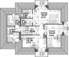 Projekt domu Śnieżka N 129,49 m2 - koszt budowy 220 tys. zł - EXTRADOM Architecture Design, House Plans, Floor Plans, House Design, How To Plan, Houses, Blue, Two Story Houses, Home Plans