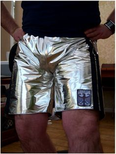 "rubberboxer: "" Silver shorts…cool """