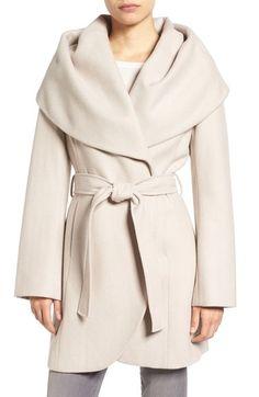 T Tahari Wool Blend Belted Wrap Coat, $230
