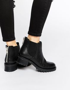 Image 1 of Faith Simca Black Leather Chelsea Boots