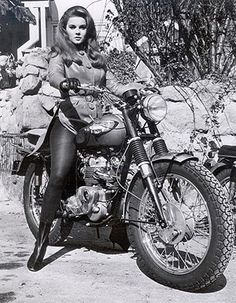 Inspiration for dark comedy, Lone Stars. 1965 Triumph Bonneville & Ann Margret