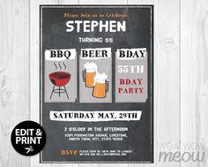 Chalk Board Retro BBQ BEER BDAY Birthday Party by wowwowmeow