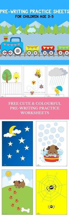 Must check out these fun pre-writing practice sheets for kids with eye-catching graphics and themes popular with children. Preschool Writing, Preschool Curriculum, Preschool Printables, Preschool Worksheets, Preschool Learning, Free Worksheets, Writing Activities, Toddler Preschool, Early Learning