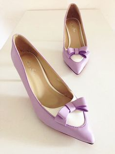 shoes - http://zzkko.com/n219679-mall-fragrant-with-high-heeled-female-models-temperament-color-stitching-bow-pointed-high-heeled-shoes.html $31.36