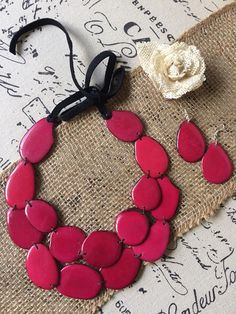 Statement pink necklace. Magenta jewelry set. Big bold chunky necklace. Tagua jewelry. Unique gifts for women