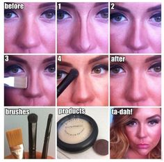 Makeup Tricks That Help Your Nose Look Smaller-If you have a wide nose and you always wondered how to make it look thinner only with the help of makeup then you are in the right place. Nose Makeup, Contour Makeup, Skin Makeup, Beauty Make Up, Diy Beauty, Beauty Hacks, Nose Contouring, Contouring And Highlighting, Makeup Tricks