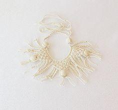 Macrame Collar Necklace Macrame knitting Necklace by aynurdereli, $32.00 #jewelry #necklace #collar #fashion #wedding