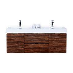 "Bliss 59"" Walnut Wall Mount Double Sink Modern Bathroom Vanity - Modern Bath"