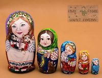 National style Russian wooden nesting dolls matryoshka hand-painted 17cm 5pcs