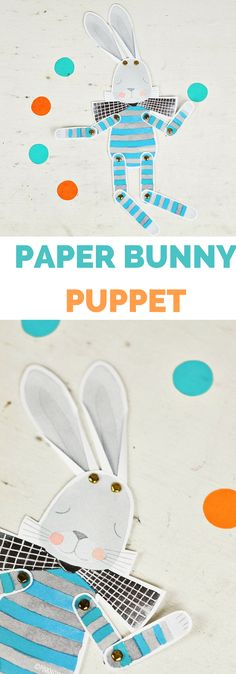 Cute Paper Bunny Puppet with free printable template. #kidscraft #eastercrafts #papercraft #papercrafting