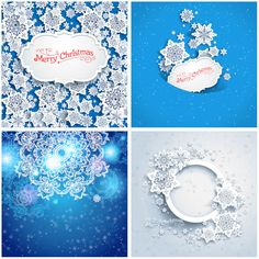 2014 Christmas cards with snowflakes vector