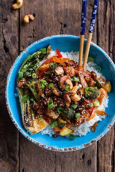 Quick Honey Ginger Pineapple and Summer Veggie Chicken Stir Fry with Caramelized Cashews | halfbakedharvest.com