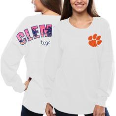 Women's Clemson Tigers White Pacific Impact Pom Pom Long Sleeve T-Shirt