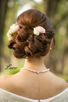 ふんわりダウンスタイル |ウェディングヘアメイクルーチェのハッピースタイル♪|Ameba (アメーバ) Headpiece Wedding, Bridal Hair, Up Styles, Hair Styles, Rapunzel Hair, Hair Arrange, Hair Reference, Wedding Photo Inspiration, Hair Ornaments