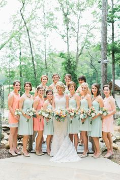 Mint and coral perfection: http://www.stylemepretty.com/georgia-weddings/2014/10/13/rustic-elegant-georgia-wedding-at-indigo-falls/ | Photography: Rustic White - http://www.rusticwhite.com/