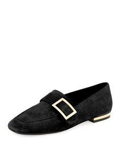 ROGER VIVIER Suede Metal-Buckle Loafer, Black. #rogervivier #shoes #flats