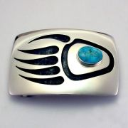 Hopi Overlay  Badger Paw Buckle with Turquoise by Weaver Selina via Museum of Northern Arizona Gift Shop.