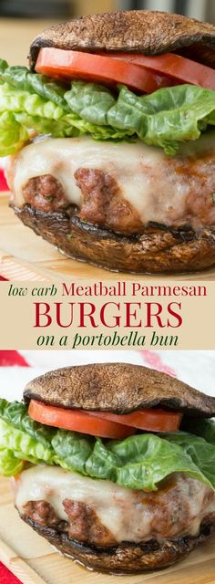 """Meatball Parmesan Burgers - transform the classic Italian comfort food recipe into a juicy hamburger topped with tomato sauce and cheese on a portobella mushroom """"bun"""" to make them low carb and gluten free. 