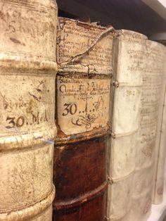 "Sixteenth-century bookbindings with title labels in the Herzog August Bibliothek, Wolfenbüttel. Photo by medieval book historian and ""Medieval Books"" blogger Erik Kwakkel."